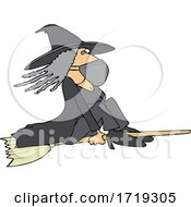 Poster, Art Print Of Cartoon Halloween Witch Flying And Wearing A Mask