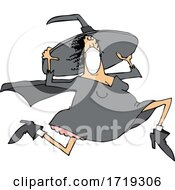 Cartoon Halloween Witch Wearing A Mask And Running