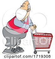 Cartoon Store Worker Wearing A Mask And Standing With A Cart