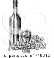 Poster, Art Print Of Wine Glass Bottle Grapes Vine Bunch Woodcut Style