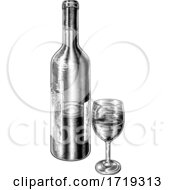Poster, Art Print Of Wine Glass And Bottle Vintage Woodcut Etching