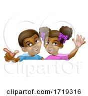 Poster, Art Print Of Black Girl And Boy Cartoon Children Kids Sign