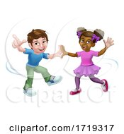 Poster, Art Print Of Girl And Boy Cartoon Kid Children Dancing