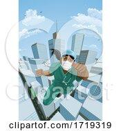 Poster, Art Print Of Doctor Nurse Scrubs Superhero Flying Super Hero