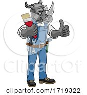 Poster, Art Print Of Rhino Painter Decorator Holding Paintbrush