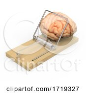 3d Wooden Mousetrap Traps Human Brain On A White Background