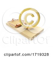 Wooden 3d Mousetrap With Gold Copyright Symbol On A White Background