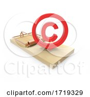3d Wooden Mousetrap With Red Copyright Symbol On A White Background