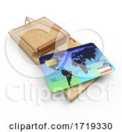 3d Credit Card Mousetrap On A White Background