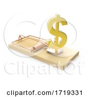 3d Wooden Mousetrap With Gold Us Dollar Currency Symbol On A White Background