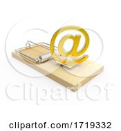 Wooden 3d Moustrap With Gold Email Address Symbol On A White Background