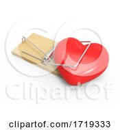 3d Heart In A Mousetrap On A White Background