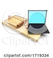 3d Laptop Mousetrap On A White Background