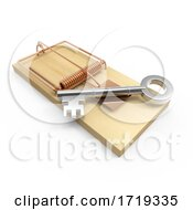 3d Mouse Trap Key On A White Background