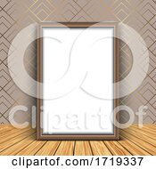 Poster, Art Print Of 3d Blank Picture Frame Against An Elegant Wallpaper Background