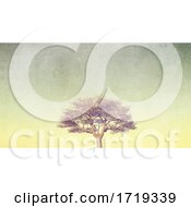 3D Grunge Style Banner With Tree On Pastel Sky