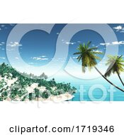 Poster, Art Print Of 3d Tropical Island Landscape With Palm Trees
