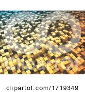 Poster, Art Print Of 3d Abstract Background With Extruding Blocks