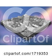 Poster, Art Print Of 3d Isometric Landscape Of Grey Extruding Cubes On A Gradient Blur Background