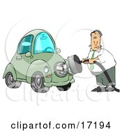 Nervous Caucasian Businessman Trying To Figure Out How To Plug In His New Electric Car To A Socket Clipart Illustration Image
