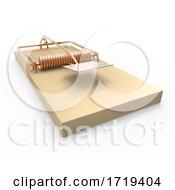 3d Empty Wooden Mousetrap Waiting For Bait