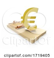 3d Wooden Mousetrap With Gold Euro Currency Symbol As Bait