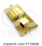 3d Gold Empty Mousetrap Ready To Take Some Bait