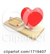 3d Wooden Mousetrap With Red Romantic Heart Symbol As Bait