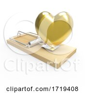 Poster, Art Print Of 3d Wooden Mousetrap With A Gold Romantic Heart As Bait