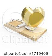 3d Wooden Mousetrap With A Gold Romantic Heart As Bait