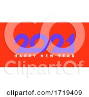 Happy New Year 2021 Logo Design With Purple Geometric Numbers On Orange Background