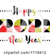 Poster, Art Print Of Elegant Multicolored Numbers 2021 With Abstract Vintage Decoration And Happy New Year Greetings