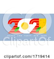 Poster, Art Print Of Colorful Numbers 2021 Look Like Eggs With Bacon And Greetings Of Happy And Tasty New Year