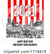 Modern Style Numbers 2021 With Cityscape Of Worlds Most Popular Tourist Attractions And Happy New Year Greetings On Striped Background