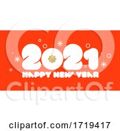 Poster, Art Print Of Happy New Year 2021 Design With Golden Snowflake And White Rounded Numbers On Red Background