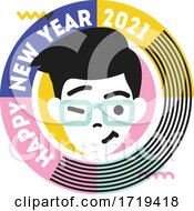 Young Winking And Smiling Male Character In Round Frame With Text Happy New Year 2021