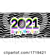 Poster, Art Print Of Modern Multicolored Numbers 2021 With Stereoscopic Effect And Happy New Year Greetings On Striped Background