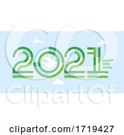 Happy New Year 2021 Elegant Striped Numbers And White Peace Dove With Olive Branch At Clear Blue Sky