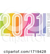 Poster, Art Print Of Happy New Year 2021 Logo Design With White Elegant Numbers On Soft Colored Rainbow Gradient Background