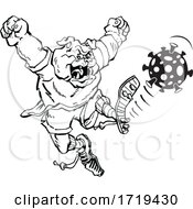 Poster, Art Print Of Black And White Bulldog Mascot Kicking Corona Virus