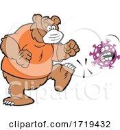 Grizzly Bear Mascot Wearing A Mask And Kicking Corona Virus