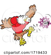 Bald Eagle Mascot Wearing A Mask And Kicking Corona Virus