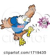 American Bald Eagle Mascot Wearing A Mask And Kicking Corona Virus