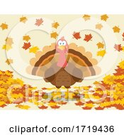 Turkey Bird With Autumn Leaves