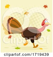 Turkey Bird And Falling Leaves