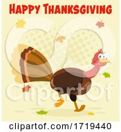 Turkey Bird And Falling Leaves Under Happy Thanksgiving Text