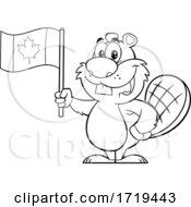 Cartoon Black And White Beaver Mascot Holding A Canadian Flag