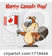 Cartoon Beaver Mascot Holding A Flag Under Happy Canada Day Text