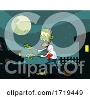 Cartoon Zombie Walking Near A House And Car