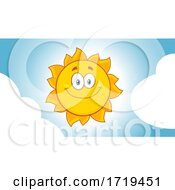 Happy Sun In A Sky With Clouds